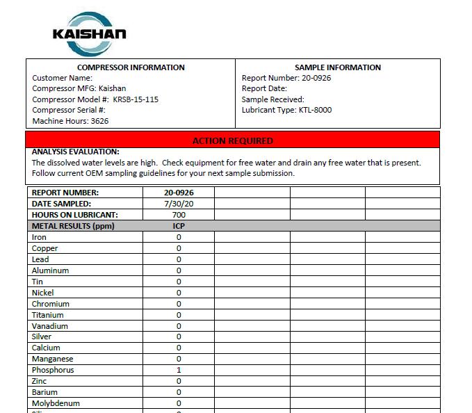 Ejemplo de reporte de análisis de aceite KAISHAN
