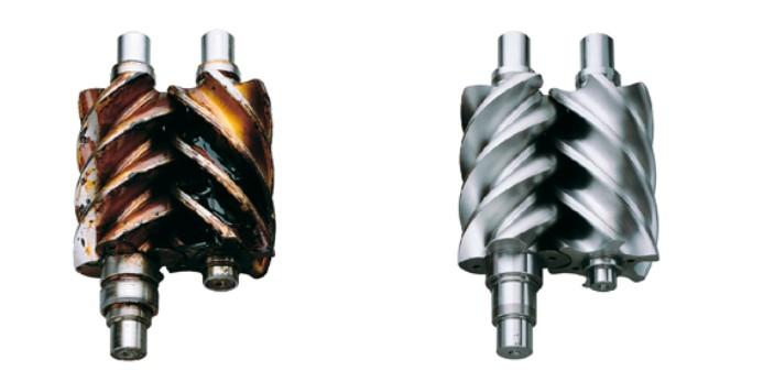 unidad de compresión barnizada y unidad en estado normal