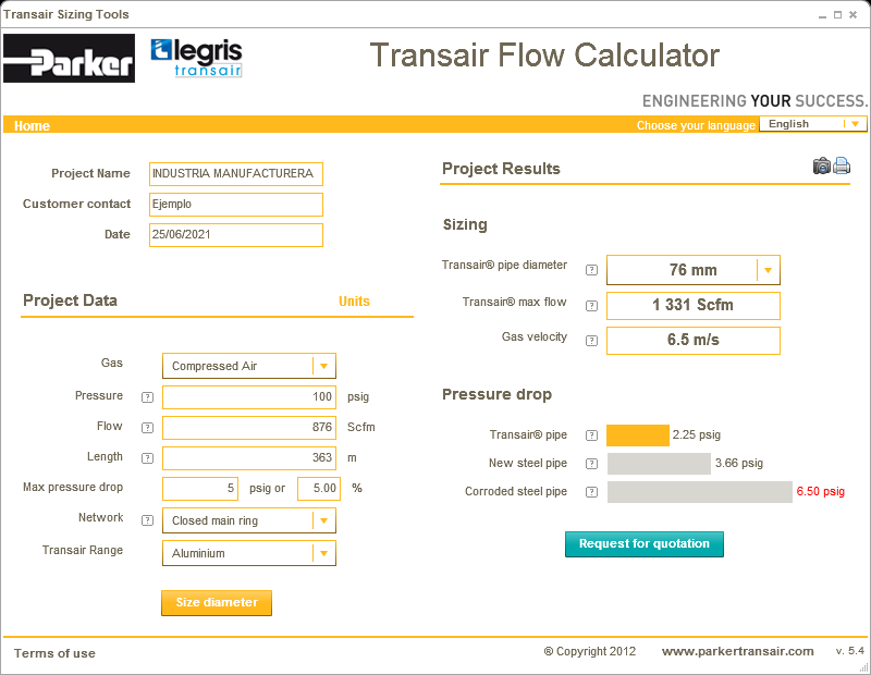 Herramienta Transair Flow Calculator