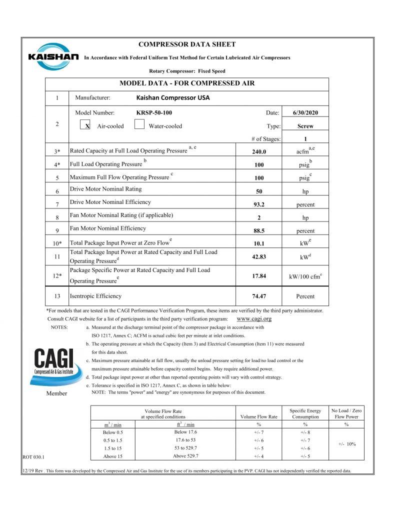 Hoja CAGI Compresor Kaishan KRSP-50