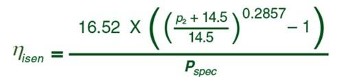 Formula eficiencia isentropica